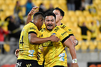 Julian Savea of the Hurricanes celebrates with team mates after scoring a try during the Super Rugby - Hurricanes v Rebels at Sky Stadium, Wellington, New Zealand on Friday 21 May 2021.<br /> Photo by Masanori Udagawa. <br /> www.photowellington.photoshelter.com
