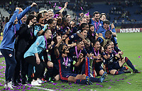 Football, Uefa Women's Champions League Final, VfL Wolfsburg - Olympique Lyonnais, Valeriy Lobanovskyi Stadium in Kiev on May 24, 2018.<br /> Olympique Lyonnais' players and coach Reynald Pedros celebrate with the trophy after winning 4-1 the Uefa Women's Champions League Final against VfL Wolfsburg at Valeriy Lobanovskyi Stadium in Kiev on May 24, 2018.<br /> UPDATE IMAGES PRESS/Isabella Bonotto
