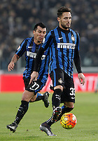 Calcio, semifinali di andata di Coppa Italia: Juventus vs Inter. Torino, Juventus Stadium, 27 gennaio 2016.<br /> FC Inter's Danilo D'Ambrosio, right, in action past his teammate Gary Medel during the Italian Cup semifinal first leg football match between Juventus and FC Inter at Juventus stadium, 27 January 2016.<br /> UPDATE IMAGES PRESS/Isabella Bonotto