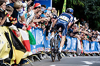Julian Alaphilippe (FRA/Deceuninck - Quick Step)  solo's to victory<br /> <br /> Elite Men World Championships - Road Race<br /> from Antwerp to Leuven (268.3km)<br /> <br /> UCI Road World Championships - Flanders Belgium 2021<br /> <br /> ©kramon
