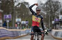 Belgian National Champion Dries De Bondt (BEL/Alpecin-Fenix) happy for his teammate Jasper Philipsen's win when crossing the finish line<br /> <br /> 109th Scheldeprijs 2021 (ME/1.Pro)<br /> 1 day race from Terneuzen (NED) to Schoten (BEL): 194km<br /> <br /> ©kramon