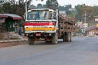 Myanmar, Burma.  Lumber Truck in Shan State.
