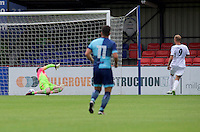 Scott Rendell of Aldershot Town scores the opening goal during the Friendly match between Aldershot Town and Wycombe Wanderers at the EBB Stadium, Aldershot, England on 26 July 2016. Photo by Alan  Stanford.