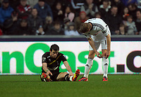 Pictured L-R: Gareth Bale on the ground after he faked a foul which he was shown a yellow card for by match referee Phil Dowd (not pictured) is spoken to by Garry Monk of Swansea.  Saturday 31 December 2011<br /> Re: Premier League football Swansea City FC v Tottenham Hotspur at the Liberty Stadium, south Wales.