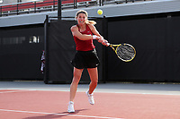 RALEIGH, NC - JANUARY 25: Marcelina Podlinska of the University of Oklahoma during a game between Oklahoma and Florida at J.W. Isenhour Tennis Center on January 25, 2020 in Raleigh, North Carolina.