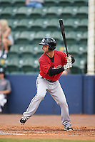 Birmingham Barons second baseman Joey DeMichele (27) at bat during a game against the Biloxi Shuckers on May 24, 2015 at Joe Davis Stadium in Huntsville, Alabama.  Birmingham defeated Biloxi 6-4 as the Shuckers are playing all games on the road, or neutral sites like their former home in Huntsville, until the teams new stadium is completed.  (Mike Janes/Four Seam Images)