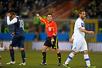 Referee Firat Aydinus  (m, TUR) , during the friendly match Italy against USA at the Stadium Luigi Ferraris at Genoa Italy on february the 29th, 2012.