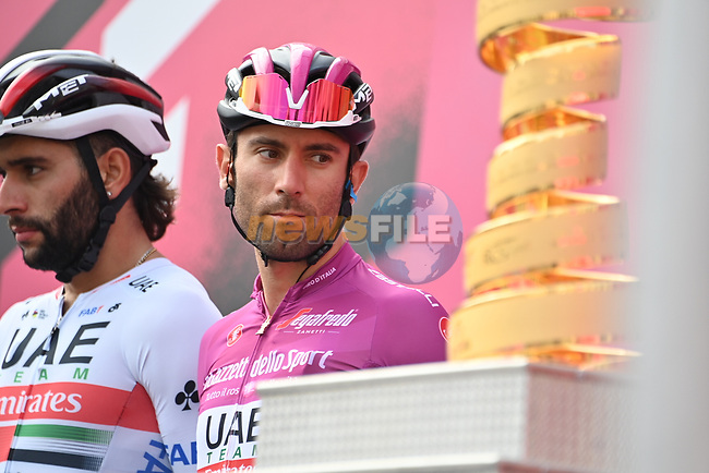 Maglia Ciclamino Diego Ulissi (ITA) UAE Team Emirates at sign on before the start of Stage 4 of the 103rd edition of the Giro d'Italia 2020 running 140km from Catania to Villafranca Tirrena, Sicily, Italy. 6th October 2020.  <br /> Picture: LaPresse/Gian Mattia D'Alberto | Cyclefile<br /> <br /> All photos usage must carry mandatory copyright credit (© Cyclefile | LaPresse/Gian Mattia D'Alberto)