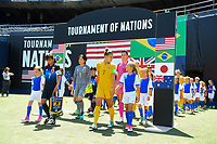 San Diego, CA - Sunday July 30, 2017: Australia vs Japan  during a 2017 Tournament of Nations match between the women's national teams of the Australia (AUS) and Japan (JAP) at Qualcomm Stadium.