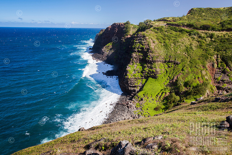 A view of the coastline along the rugged northern shore of West Maui.