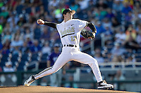 Vanderbilt Commodores starting pitcher Walker Buehler (13) delivers a pitch to the plate against the TCU Horned Frogs in Game 12 of the NCAA College World Series on June 19, 2015 at TD Ameritrade Park in Omaha, Nebraska. The Commodores defeated TCU 7-1. (Andrew Woolley/Four Seam Images)