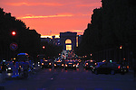 Sunset and the Arc de Triomphe, Paris, France, Europe.