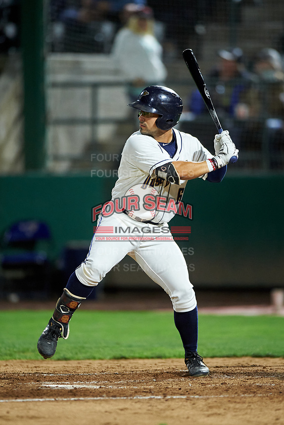 Tri-City Dust Devils Matthew Acosta (6) at bat during a Northwest League game against the Vancouver Canadians at Gesa Stadium on August 21, 2019 in Pasco, Washington. Vancouver defeated Tri-City 1-0. (Zachary Lucy/Four Seam Images)