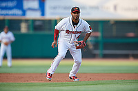 Rochester Red Wings third baseman Gregorio Petit (4) during a game against the Lehigh Valley IronPigs on June 30, 2018 at Frontier Field in Rochester, New York.  Lehigh Valley defeated Rochester 6-2.  (Mike Janes/Four Seam Images)
