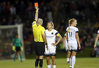 Boyds, MD - Saturday May 07, 2016: Referee Christopher Spivey gives a red card to Portland Thorns FC midfielder Tobin Heath (17) during a regular season National Women's Soccer League (NWSL) match at Maureen Hendricks Field, Maryland SoccerPlex. Washington Spirit tied the Portland Thorns 0-0.