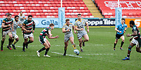 20th February 2021; Welford Road Stadium, Leicester, Midlands, England; Premiership Rugby, Leicester Tigers versus Wasps; Tom Cruse of Wasps kicks the ball forward for field position