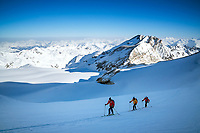 Ski touring on a glacier on the way to the Brunegghorn, Switzerland