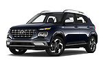 Stock pictures of low aggressive front three quarter view of 2020 Hyundai Venue Denim 5 Door SUV Low Aggressive