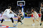Real Madrid´s Andres Nocioni and Sergio Rodriguez and Zalgiris Kaunas´s Lukas Lekavicius during 2014-15 Euroleague Basketball match between Real Madrid and Zalgiris Kaunas at Palacio de los Deportes stadium in Madrid, Spain. April 10, 2015. (ALTERPHOTOS/Luis Fernandez)