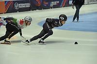 SPEEDSKATING: DORDRECHT: 05-03-2021, ISU World Short Track Speedskating Championships, Heats 1000m Men, Andrew Heo (USA), Shaolin Sandor Liu (HUN), ©photo Martin de Jong