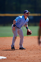 Tampa Bay Rays third baseman Jake Palomaki (57) during a Minor League Spring Training game against the Boston Red Sox on March 25, 2019 at the Charlotte County Sports Complex in Port Charlotte, Florida.  (Mike Janes/Four Seam Images)