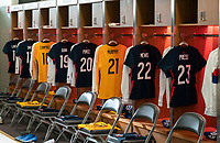 ORLANDO, FL - FEBRUARY 24: USWNT jerseys hang in the locker room before a game between Argentina and USWNT at Exploria Stadium on February 24, 2021 in Orlando, Florida.