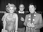 Cy Coleman with Neil Simon and Jessica James Attending a party after a performance of LITTLE ME at the Eugene O'Neill Theatre in New York City.<br />November 1982