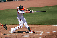 Baltimore Orioles Trey Mancini (16) bats during a Major League Spring Training game against the Philadelphia Phillies on March 12, 2021 at the Ed Smith Stadium in Sarasota, Florida.  (Mike Janes/Four Seam Images)