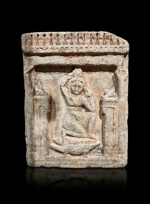 Egyptian stele of Theanou, limestone, Roman Period, 1st cent AD, Com Abu Billo, cat 18117. Egyptian Museum, Turin. black background