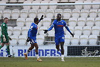 Frank Nouble of Colchester United (R) scores the second goal for his team and celebrates during Colchester United vs Mansfield Town, Sky Bet EFL League 2 Football at the JobServe Community Stadium on 14th February 2021