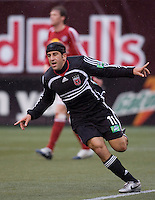 DC United's (11) Alecko Eskandarian celebrates scoring the game's first goal during the 1st half against the Red Bulls at Giant's Stadium, East Rutherford, NJ, on April 22, 2006.