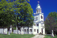AJ1420, Massachusetts, Lenox, church, The Berkshires, The Church on the Hill, United Church of Christ and cemetery in Lenox, Massachusetts in the spring.