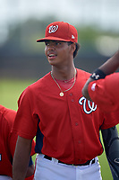 GCL Nationals Frailin Turbi (4) during warmups before a Gulf Coast League game against the GCL Astros on August 9, 2019 at FITTEAM Ballpark of the Palm Beaches training complex in Palm Beach, Florida.  GCL Nationals defeated the GCL Astros 8-2.  (Mike Janes/Four Seam Images)