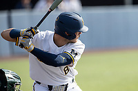 Michigan Wolverines designated hitter Jimmy Obertop (8) at bat against the Michigan State Spartans on March 22, 2021 in NCAA baseball action at Ray Fisher Stadium in Ann Arbor, Michigan. Michigan State beat the Wolverines 3-0. (Andrew Woolley/Four Seam Images)