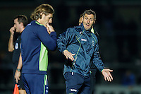 Barry Richardson of Wycombe Wanderers (right) get animated during the The Checkatrade Trophy match between Wycombe Wanderers and West Ham United U21 at Adams Park, High Wycombe, England on 4 October 2016. Photo by David Horn.