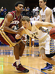 BROOKINGS, SD - FEBRUARY 27:  Jake Bittle #4 from South Dakota State looks to drive against Cam Griffin #30 from Denver University in the first half of their game Thursday night at Frost Arena in Brookings. (Photo by Dave Eggen/Inertia)