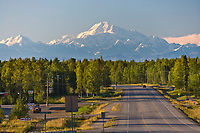 George Parks Highway near Willow, and a southside view of Mount Denali, North America's tallest peak at approximately 20,237 ft. (6,168m),  Alaska.