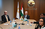 Palestinian Prime Minister Mohammed Ishtayeh meets with board of Directors and Governor of the Monetary Authority Firas Melhem, in the West Bank city of Ramallah on September 26, 2021. Photo by Prime Minister Office