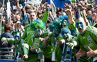 Fans cheer for the Seattle Sounders in the match against Toronto FC at the XBox Pitch at Quest Field on August 29, 2009. The Sounders and Toronto played to a 0-0 draw.