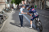 Dries De Bondt (BEL/Alpecin-Fenix) pleasing a young fan with an autograph <br /> <br /> 55th Grote Prijs Jef Scherens - Rondom Leuven 2021 (BEL)<br /> <br /> One day race from Leuven to Leuven (190km)<br /> ridden over the final circuit of the 2021 World Championships road races <br /> <br /> ©kramon