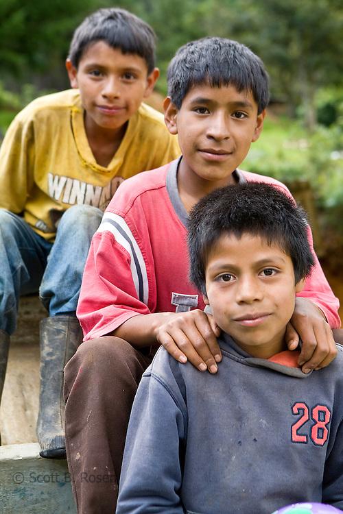 Three Guatemalan boys in the Western Highlands, Xexocom, Guatemala