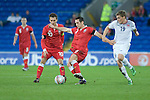 Andrew Crofts (middle) of Wales during the Wales v Norway Vauxhall international friendly match at the Cardiff City Stadium in South Wales..Editorial use only.