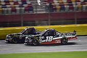 #16: Brett Moffitt, Hattori Racing Enterprises, Toyota Tundra, #18: Noah Gragson, Kyle Busch Motorsports, Toyota Tundra Safelite AutoGlass