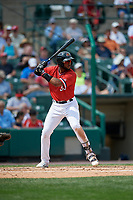 Rochester Red Wings third baseman Niko Goodrum (38) bats during a game against the Columbus Clippers on August 9, 2017 at Frontier Field in Rochester, New York.  Rochester defeated Columbus 12-3.  (Mike Janes/Four Seam Images)