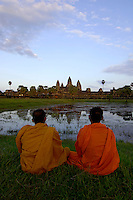 Images from the Book Journey Through Colour and Time,Buddhist Monks enjoying the Sunset at Ankor Wat