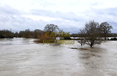 """Widespread flooding in Bedford and surrounding villages, where the River Great Ouse has burst its banks. Severe flood warnings were issued for areas along the River Great Ouse by the UK Environment Agency and residents living near the river were """"strongly urged"""" to seek alternative accommodation due to fears of flooding. Bedford, England, UK on December 26, 2020.<br /> CAP/ROS<br /> ©ROS/Capital Pictures"""