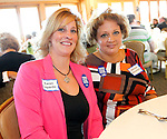 Harwinton, CT-10 September 2012-091012CM10- SOCIAL MOMENTS--  United Way of Northwest Connecticut's charity celebrity breakfast Monday morning at the Fairview Farm Golf Course in Harinwton. Left to right,  Karen Lopardo and Melissa Manolitsis of Torrington Savings Bank.  Christopher Massa Republican-American