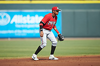 Carolina Mudcats shortstop Julio Garcia (3) on defense against the Winston-Salem Dash at BB&T Ballpark on June 1, 2019 in Winston-Salem, North Carolina. The Mudcats defeated the Dash 6-3 in game one of a double header. (Brian Westerholt/Four Seam Images)