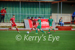 Oisin Breen of Kerry and Aaron Healy of Cork tussle for possession in the U17 EA Sports soccer League