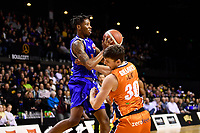 Kerwin Roach of the Wellington Saints passes the ball during the round two NBL match between the Wellington Saints and the Southland Sharks at TSB Bank Arena, Wellington, New Zealand on Friday 7 May 2021.<br /> Photo by Masanori Udagawa. <br /> www.photowellington.photoshelter.com